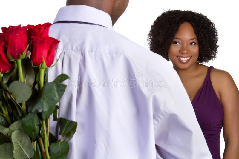 Valentines Day Roses. Man giving valentines day roses royalty free stock photo