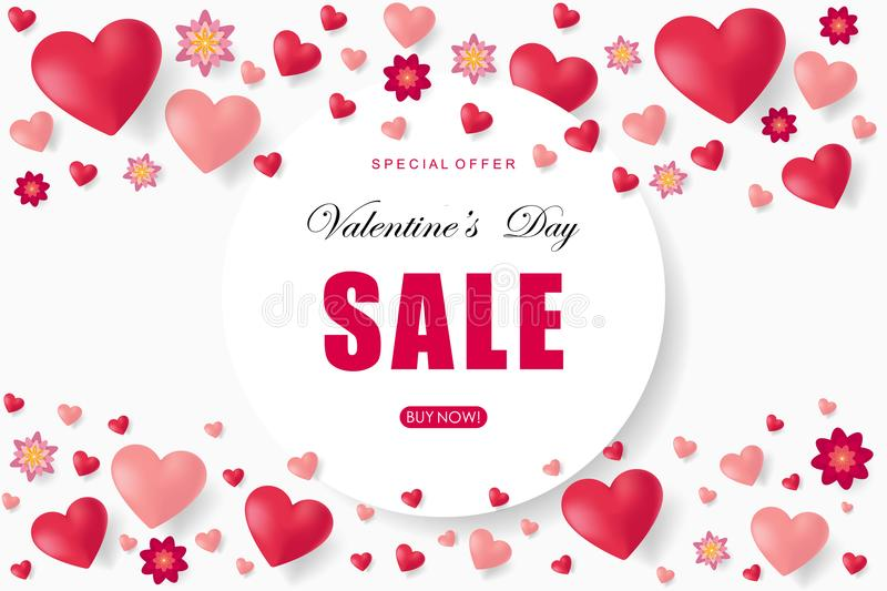 Valentines day sale background with heart. Vector illustration. Wallpaper. Flyers, invitation, posters, brochure, banners, voucher design template royalty free illustration