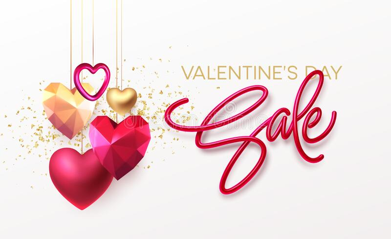 Valentines Day Sale background with realistic metallic gold and red ruby low poly heart. Red Golden Lettering Sale on royalty free stock image