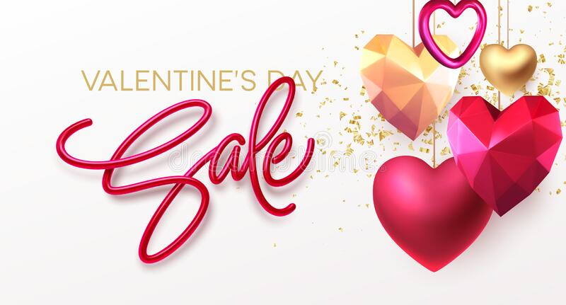 Valentines Day Sale background with realistic metallic gold and red ruby low poly heart. Red Golden Lettering Sale on stock photography
