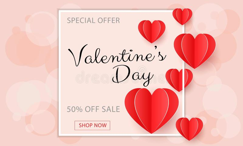 Valentines day sale background with red paper cut hearts. royalty free illustration