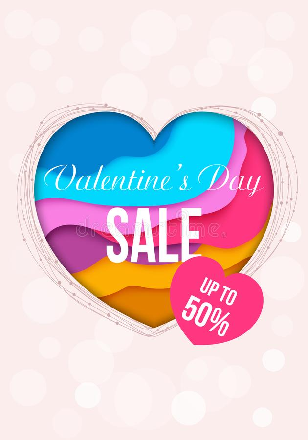 Valentines Day sale background with stylish papercut heart. Voucher template stock illustration