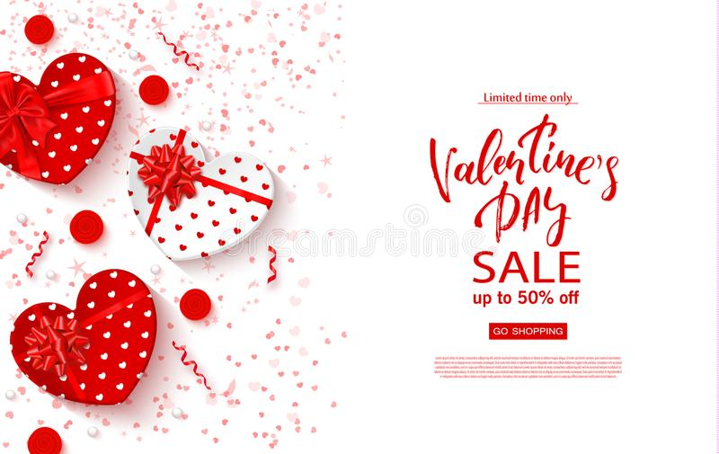 Valentines day sale banner. Beautiful Background with gift boxes in heart shape, roses and serpentine. Vector. Illustration for website , posters, ads, coupons stock illustration