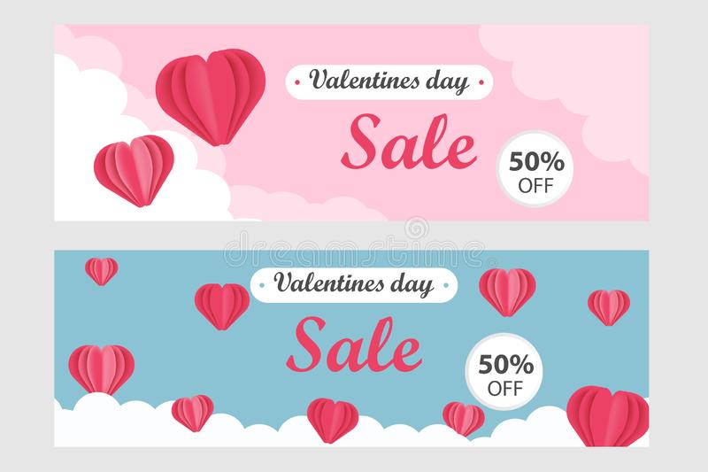 Valentines Day Sale Banner Template in horizontal format - Vector illustration in paper cut style, pink and turquoise background stock illustration