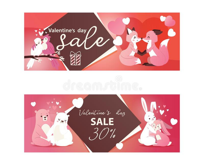 Valentines day sale banners with kissing animals hearts vector illustration. Wholesale flyer template with cute bear. Rabbit, fox and birds. Promotion royalty free illustration