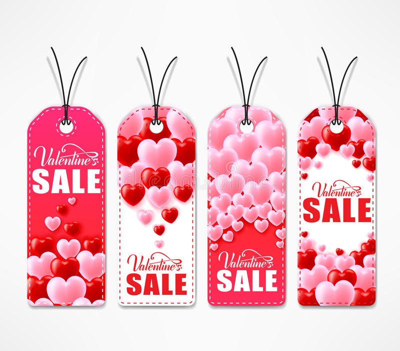 Valentines Day Sale Creative Tags In Red And White Color vector illustration