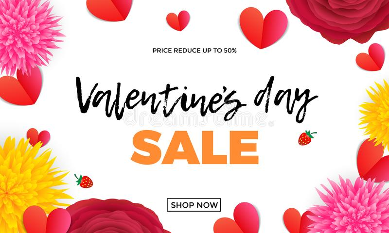 Valentines Day sale design template of red paper hearts and pink roses or red flowers bunch on white background. Vector Valentine stock illustration