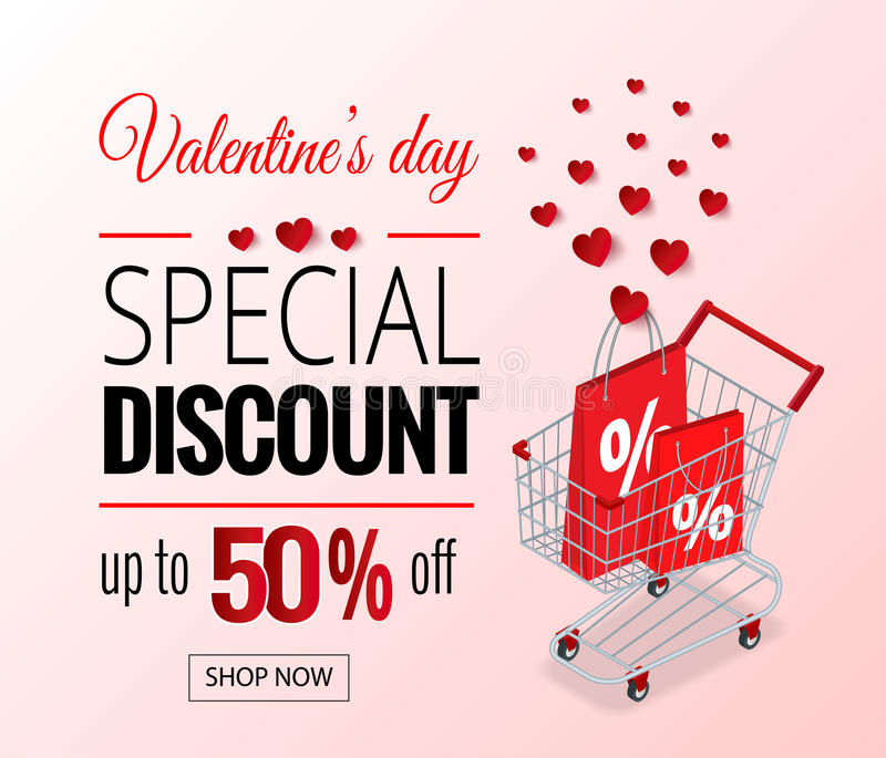 Valentines Day sale flayers. Vector Valentines Day for online shopping website and mobile website banners, posters, newsletter designs, ads, coupons, social stock illustration