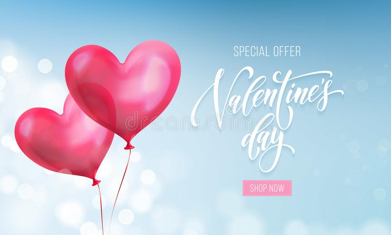 Valentines day sale poster or banner of valentine red heart on blue light pattern background. Vector Valentines day holiday shop d. Iscount promo design template vector illustration