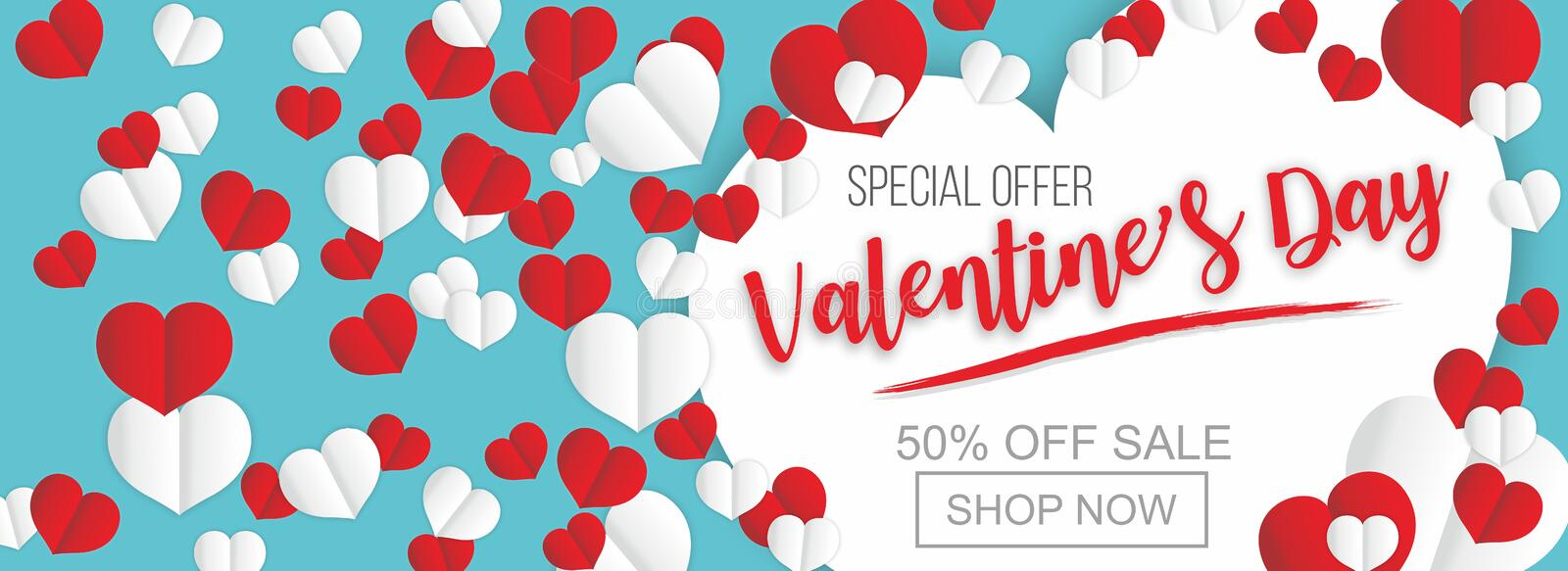 Valentines day sale poster or banner of valentine red heart on trendy background. Valentines day holiday shop discount promo desig. N template of lovely paper royalty free illustration