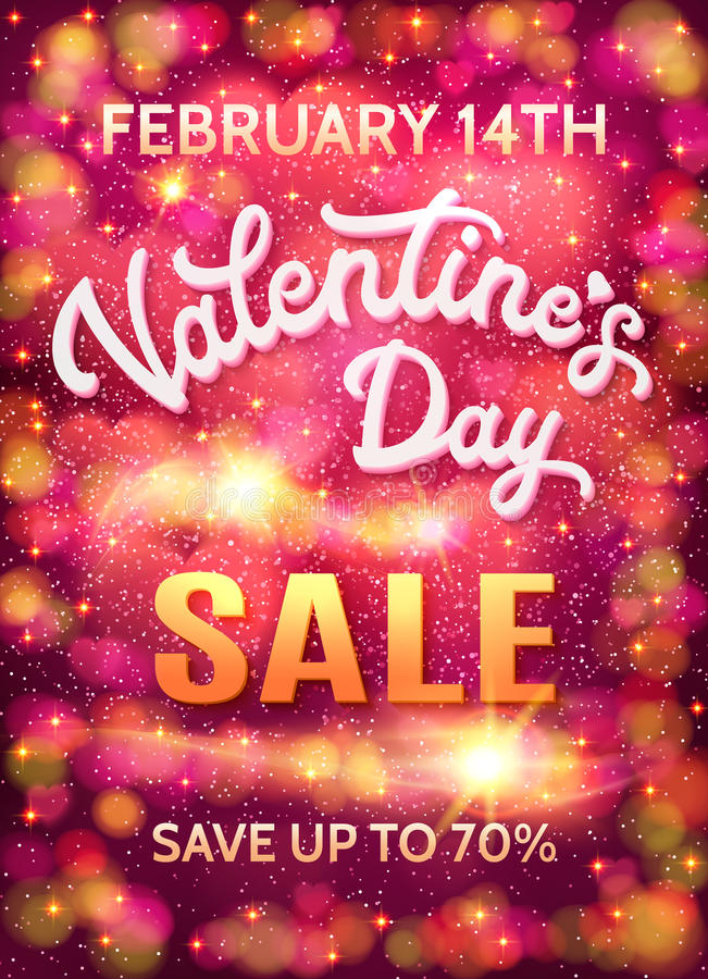 Valentines day sale poster template with hearts. royalty free illustration
