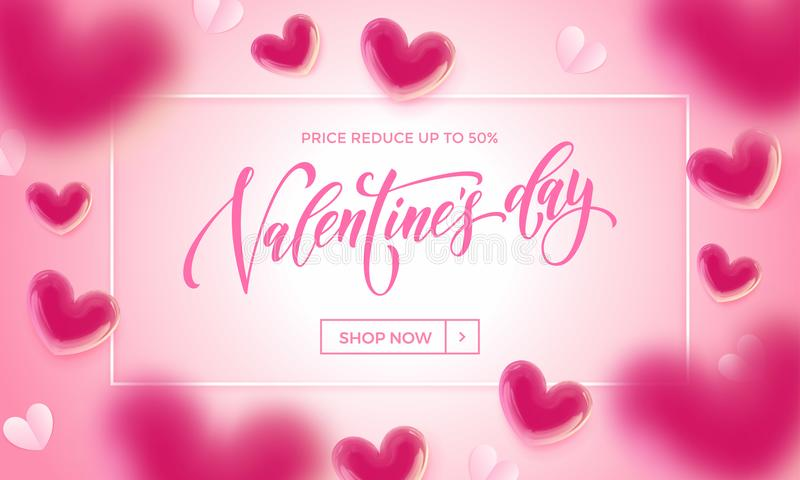 Valentines day sale poster of valentine balloon and paper hearts pattern on pink background. Vector Valentines day shop now discou. Nt promo banner design royalty free illustration
