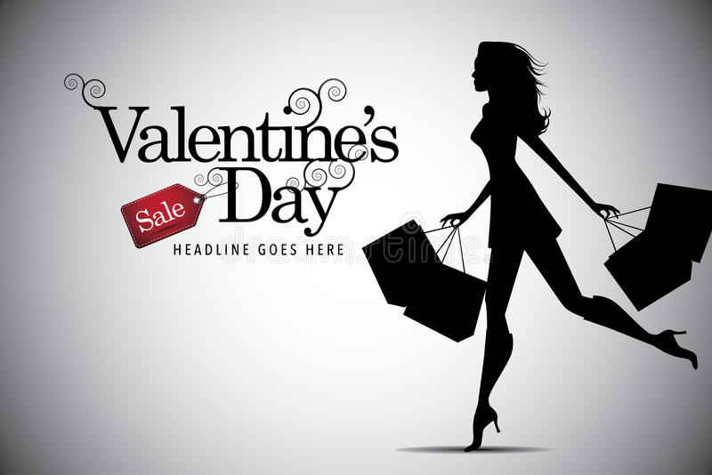 Valentines Day sale shopping woman background vector illustration