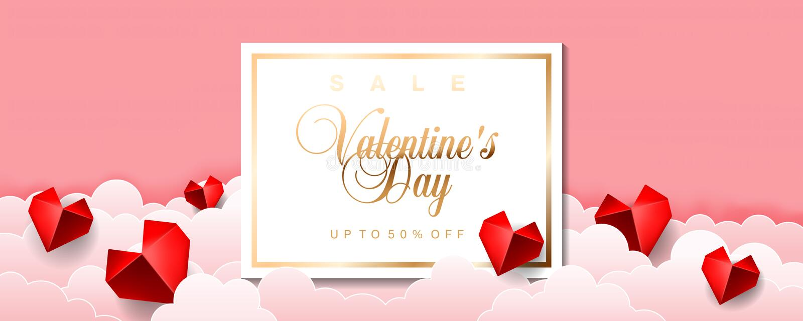 Valentines Day sale special offer discount vector illustration banner flyer poster voucher website header template with origami pa royalty free illustration