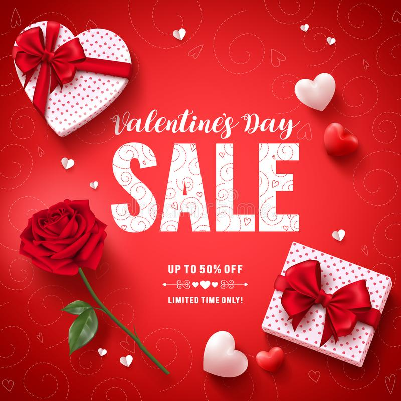 Valentines day sale text vector banner design with love gifts, rose and hearts royalty free illustration