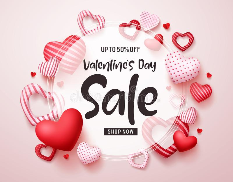 Valentines day sale vector banner. Sale discount promotion text in white frame with red valentines hearts elements stock illustration