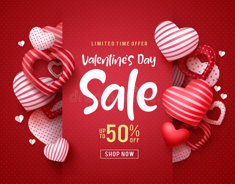 Valentines day sale vector banner. Sale discount text for valentines day. Shopping promotion with hearts elements in red background. Vector illustration stock illustration