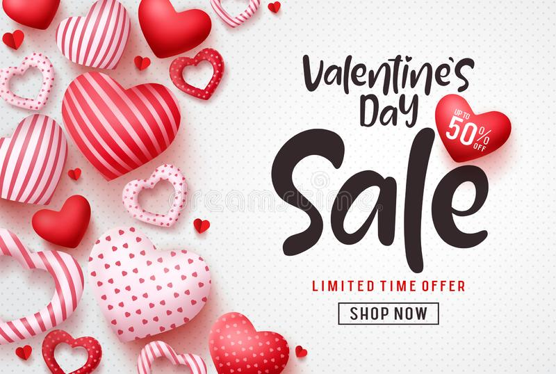 Valentines day sale vector banner template. Valentines day sale discount text. With hearts elements in white pattern background. Vector illustration royalty free illustration