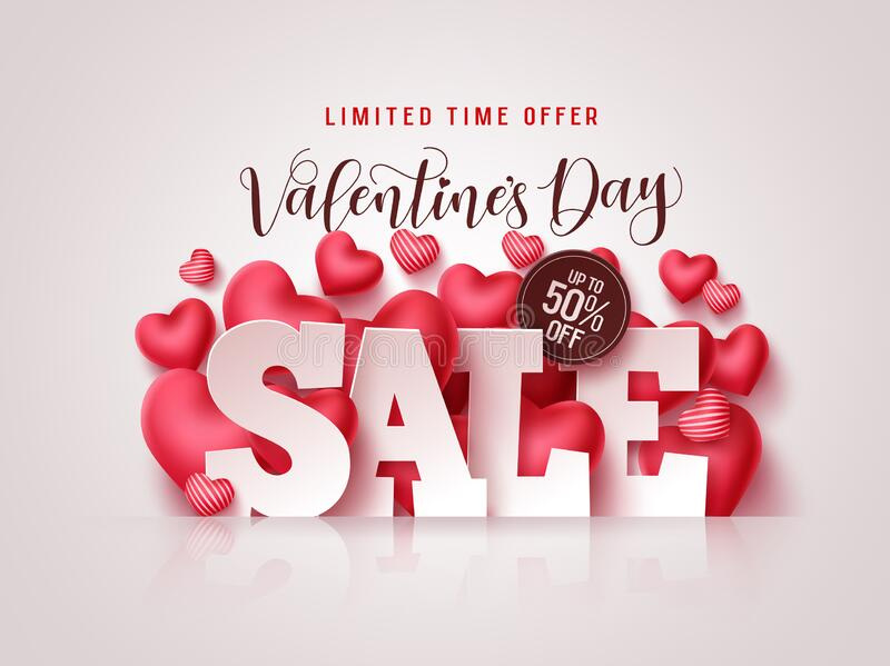 Valentines day sale vector banner. Valentines day sale 3D text with heart shapes. Elements in white background for discount promotion. Vector illustration vector illustration