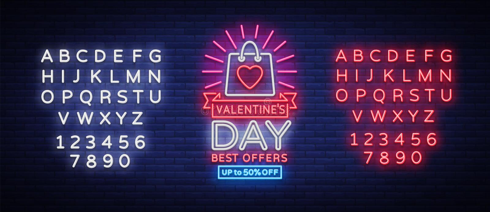 Valentines Day sale vector design template poster in neon style. Neon sign, neon banner with discounts, bright night vector illustration