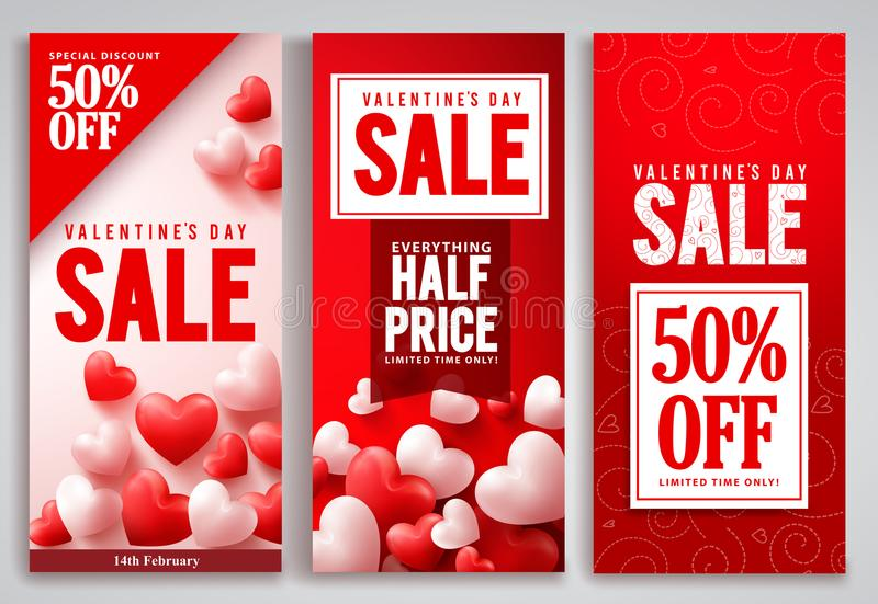 Valentines day sale vector poster set designs with red hearts shape elements vector illustration