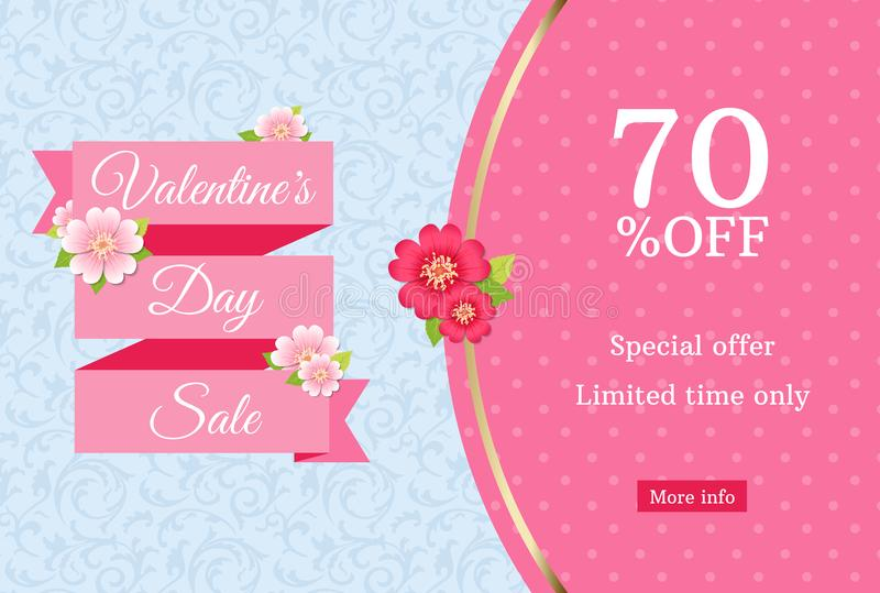 Valentines day sale web banner design template. Pink flat ribbon on blue floral background. Polka dot pattern with 70 percent off stock illustration