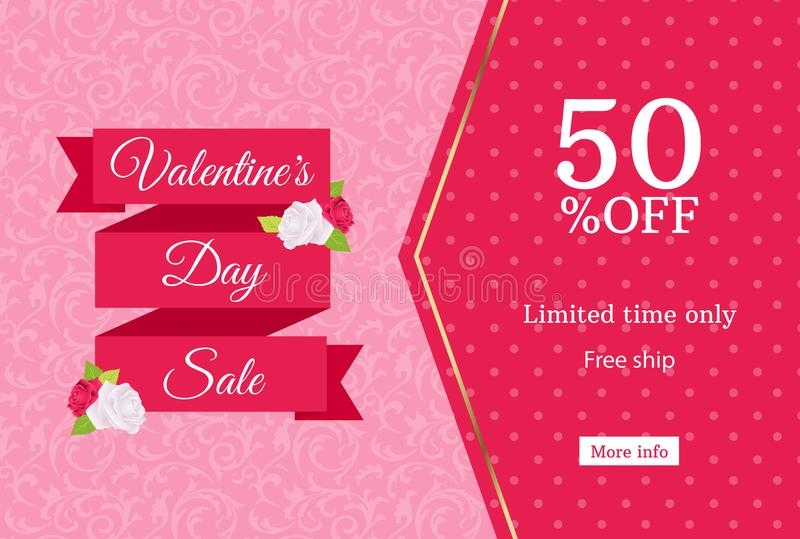 Valentines day sale web banner design template. Pink flat ribbon on floral background. Polka dot pattern 50 percent off discount stock illustration