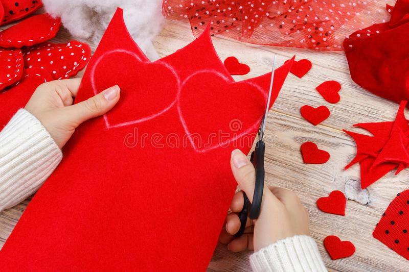 Valentines day scrapbook background. Handmade gift greeting heart creating, cut and paste, diy tools on white wood. wedding or oth stock photos