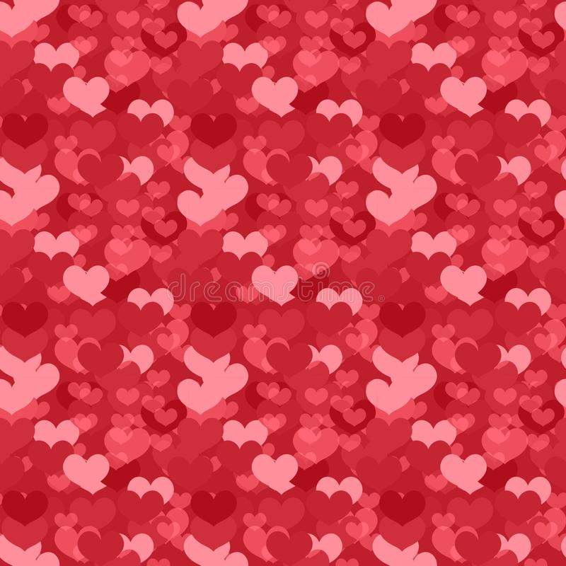 Valentines Day seamless pattern. Heart endless background. Romance, love repeating texture. Holiday wallpaper, paper. Backdrop. Vector illustration stock illustration