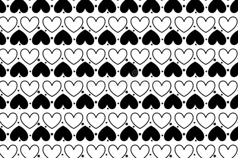 Valentines day seamless pattern with hearts of wallpaper and background. Fabric, february, creative, shape, love, blanket, line, repeat, wrapping, new, print vector illustration