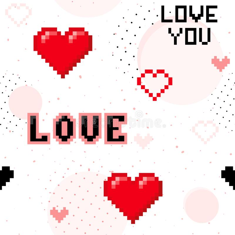 Valentines day seamless pattern with hearts, word Love. Pixel art. 90s style royalty free illustration
