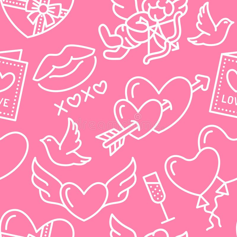 Valentines day seamless pattern. Love, romance flat line icons - hearts, chocolate, kiss, Cupid, doves, valentine card stock illustration