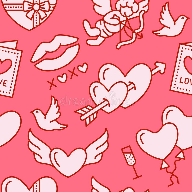 Valentines day seamless pattern. Love, romance flat line icons - hearts, chocolate, kiss, Cupid, doves, valentine card. Pink wallpaper for february 14 stock illustration