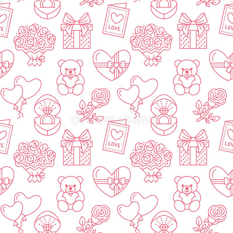Valentines day seamless pattern. Love, romance flat line icons - hearts, chocolate, teddy bear, engagement ring. Balloons, valentine card, red rose. Pink royalty free illustration