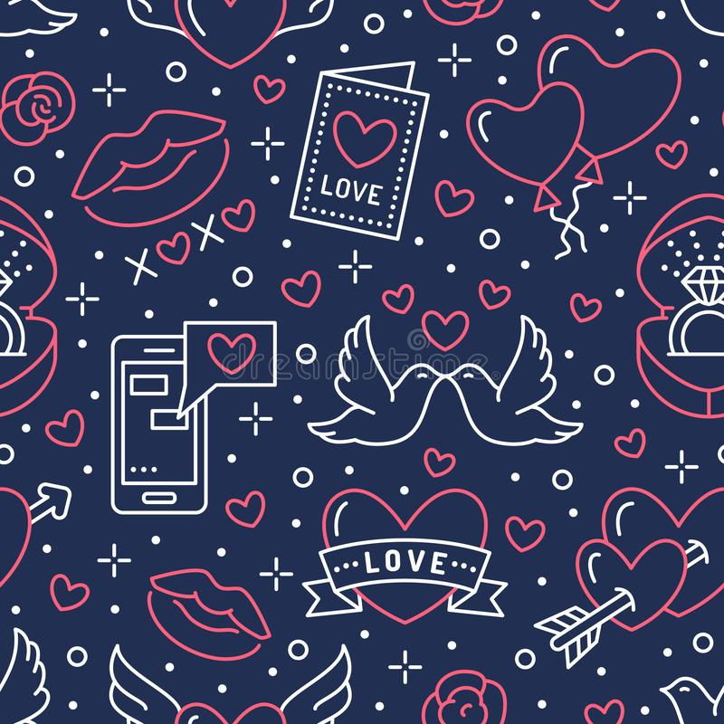 Valentines day seamless pattern. Love, romance flat line icons - hearts, engagement ring, kiss, balloons, doves. Valentine card. Red, blue wallpaper for vector illustration