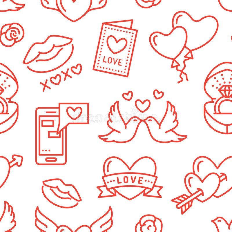 Valentines day seamless pattern. Love, romance flat line icons - hearts, engagement ring, kiss, balloons, doves stock illustration