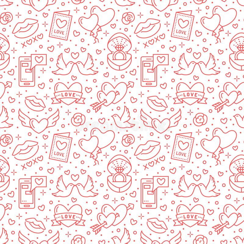 Valentines day seamless pattern. Love, romance flat line icons - hearts, engagement ring, kiss, balloons, doves royalty free illustration