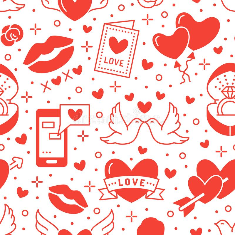 Valentines day seamless pattern. Love, romance flat line icons - hearts, engagement ring, kiss, balloons, doves. Valentine card. Red, white wallpaper for stock illustration