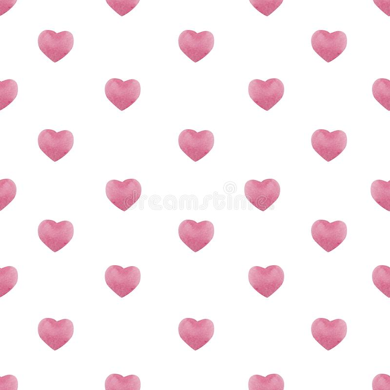 Valentines day seamless pattern with watercolor pink hearts , background for february 14 celebration royalty free illustration