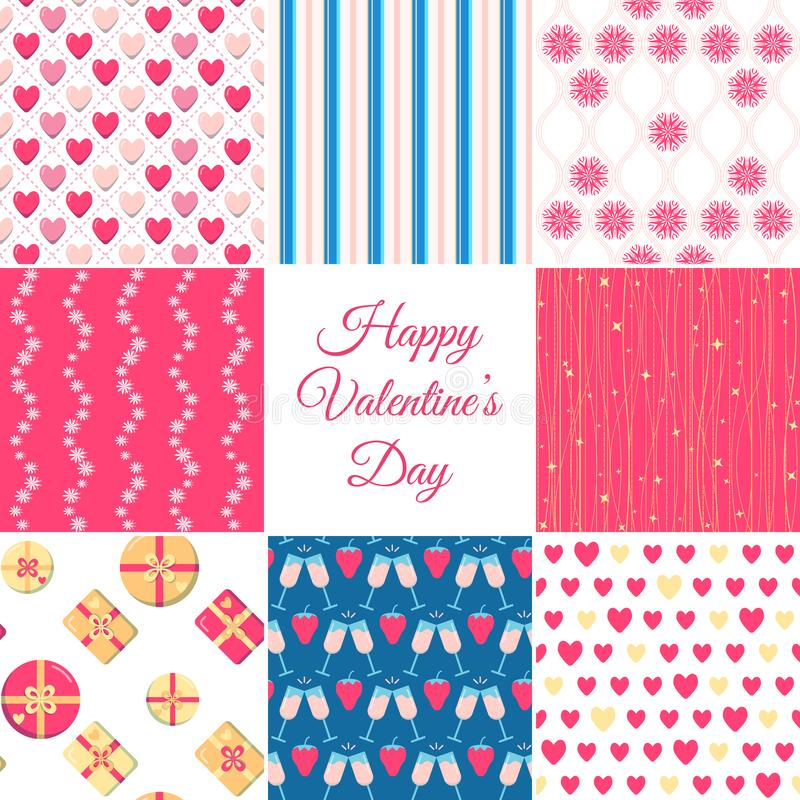 Valentines day seamless patterns collection in flat style royalty free illustration