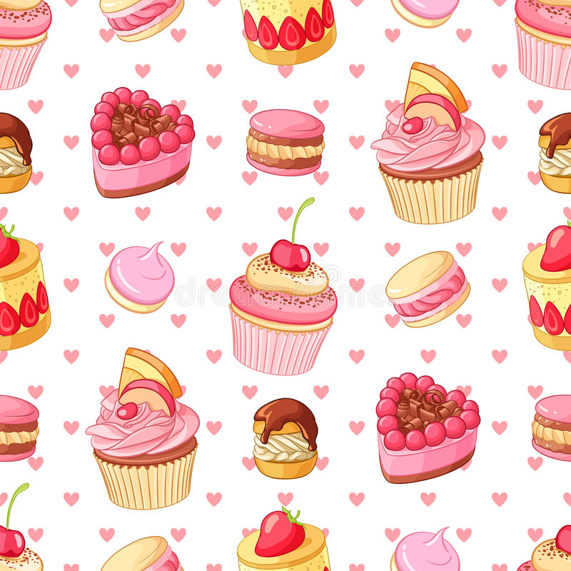 Valentines Day seamless vector pattern with various desserts and hearts. vector illustration