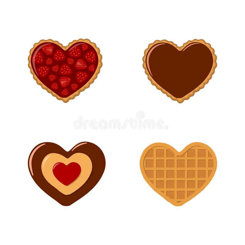 Valentines day. Set of cookies and waffles in heart shaped with strawberries and chocolate royalty free stock photo