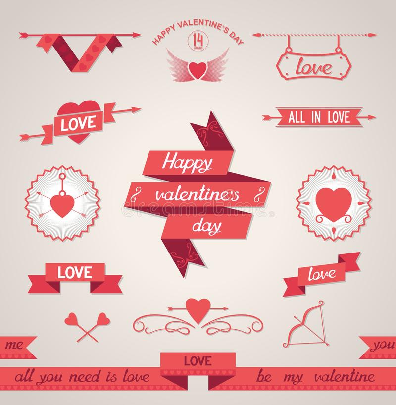 Valentines Day set design elements stock images