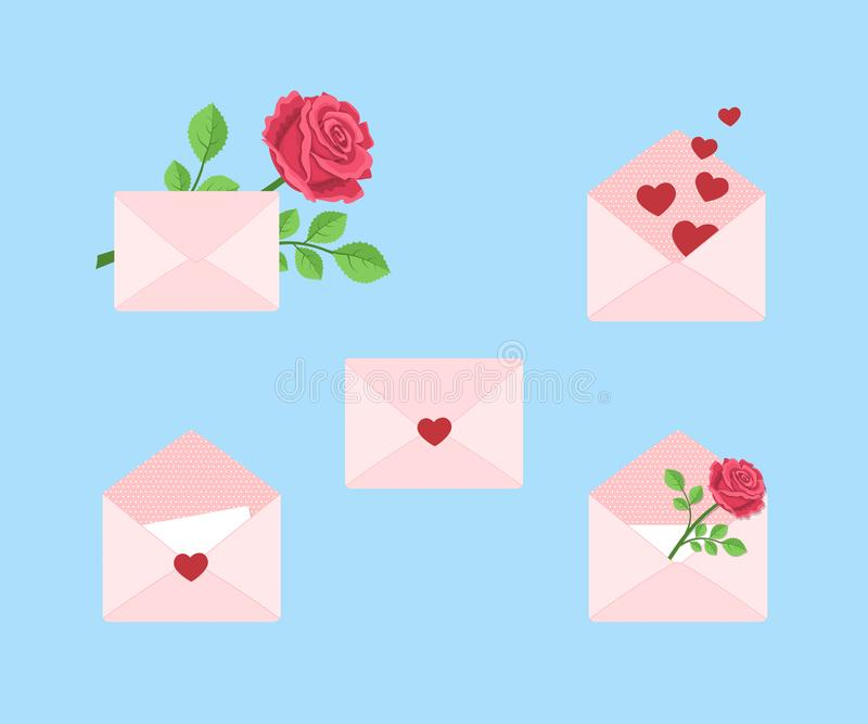 Valentines day. Set of diversity envelopes with hearts and roses stock photography