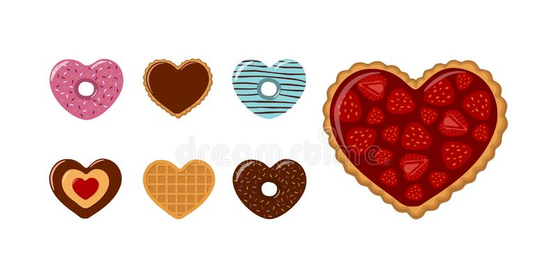 Valentines Day. Set of heart-shaped cookies, donuts and waffles with strawberries and chocolate stock images