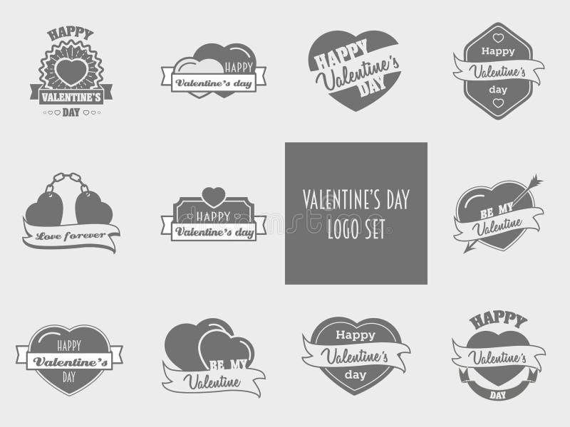 Valentines day set of label, badges, stamp and design elements vector illustration