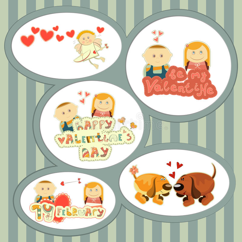 Valentines Day, set of stickers. With Cartoon Boy and Girl and hand Lettering - illustration vector illustration