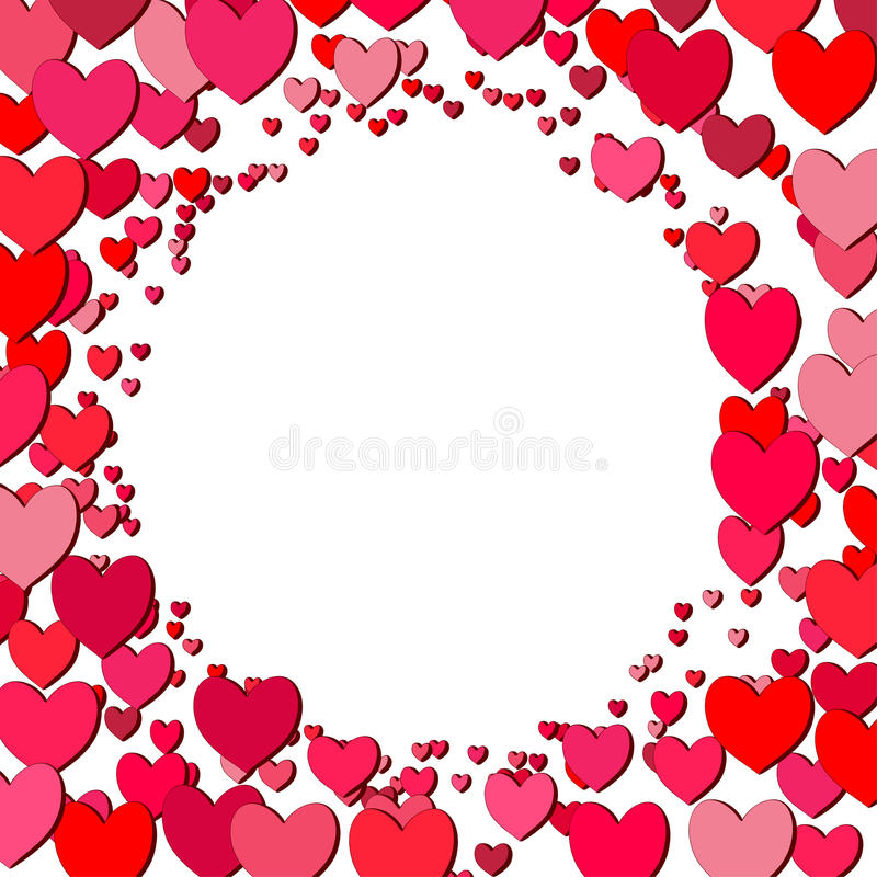 Valentines Day Square Frame With Scattered Hearts Stock Vector ...