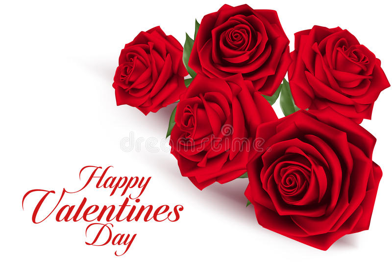 Valentines Day Sweet Red Roses vector illustration