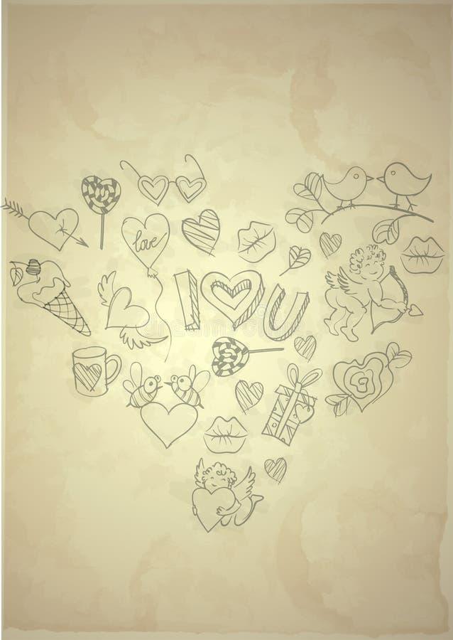 Valentines Day Symbol's. Set of Hand Drawn Various Elements On Old Vintage Paper . Valentines Day Symbol's. Vector Illustration. Eps 10 royalty free illustration